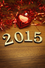 New Year 2015 decoration on the wooden table
