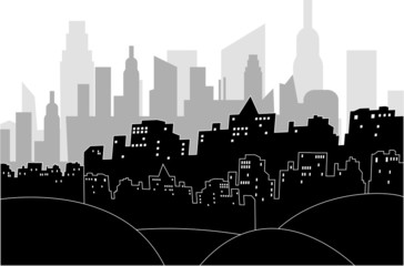 Modern city by night