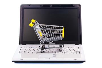 Warenkorb und Tastatur. Online Shopping
