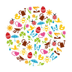 spring icons in circle