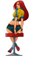 Girl sits in bar . Vector illustration