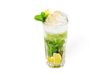 Mojito cocktail with ice isolated on white background