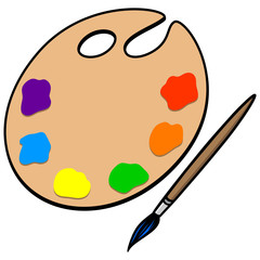 Art Palette and Brush