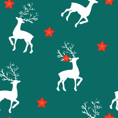 Seamless pattern for Christmas with reindeer on blue
