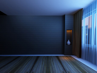 empty room in the night