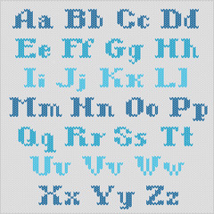 Knitted vector alphabet, blue bold serif letters.