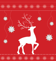 Christmas greeting card with reindeer on red
