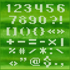 Knitted vector bold sans serif numbers and punctuation.