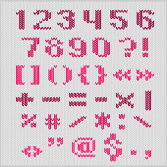 Knitted vector alphabet, sans serif numbers and punctuation.