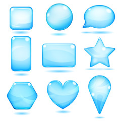 Opaque blue glass shapes