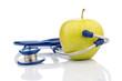 canvas print picture - Apfel und Stethoskop