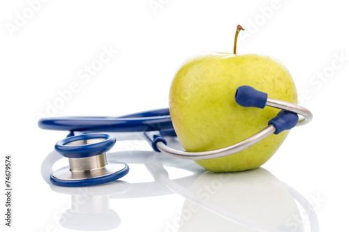 canvas print picture Apfel und Stethoskop