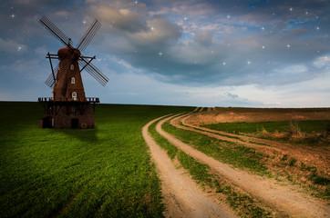 Windmill in the night.