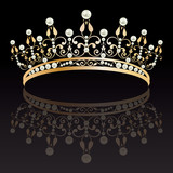 Diadem. Luxury gold with pearls feminine tiara with reflection