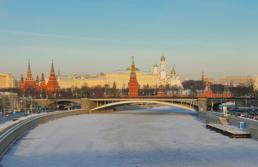View of  Kremlin, Patriarchal bridge and Moscow river embankment