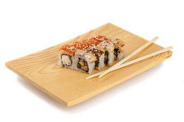 Sushi plate, isolated on white