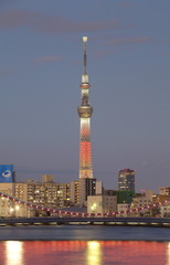 Tokyo sky tree with red christmas light up