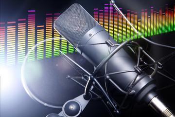 Equalizer Pegel mit Studio Mikrofon