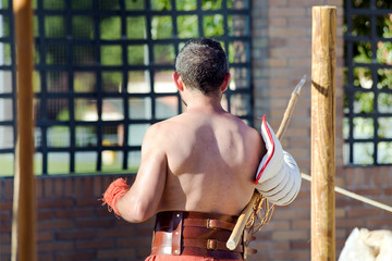 Roman gladiator training in ludus