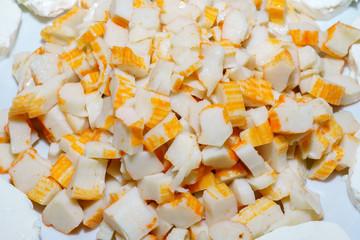 Piatto di surimi e tomini, polpa di granchio