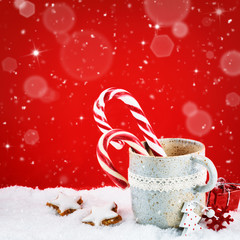 Christmas setting with winter holiday sweets