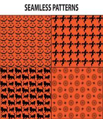 Four Halloween Seamless Patterns