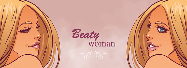 Fashion beautiful woman with long  hair.Vector illustration