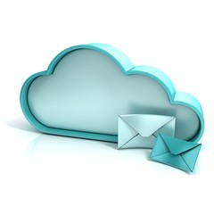 Cloud letter 3d computer icon isolated