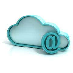Cloud mail 3d computer icon isolated
