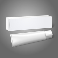 Realistic white blank paper package box with tube for oblong