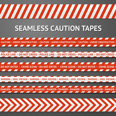 Set of red and white seamless caution tapes with different signs