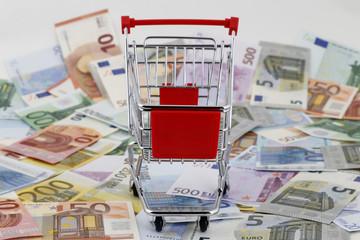 Shopping Cart With Euro Money