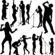 singers silhouette set vector - 74683369