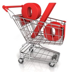Red shopping cart with percent sign, isolated on white