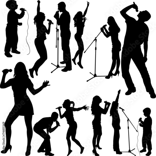 singers silhouette set vector - 74683369