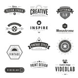 Vintage Retro Logos Labels vector. Typography Logo