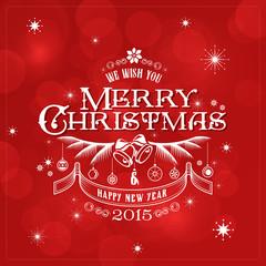 Merry Christmas Typography Lettering Retro Vintage Label Design