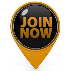 Join now pointer icon on white background