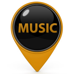 music pointer icon on white background