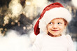 Little girl with santa hat