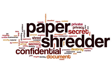 Paper shredder word cloud
