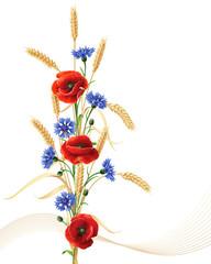 Cornflowers, poppy flowers  and wheat ears bunch