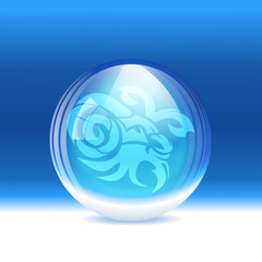 Vector snow globe with a sign Capricorn