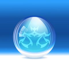 Vector snow globe with a sign Libra