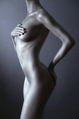 Nude woman with silver body