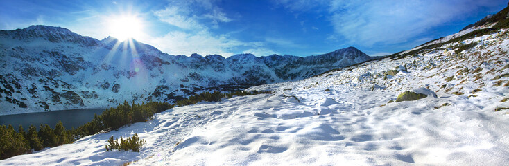 Panoramic winter view of the tatra mountain