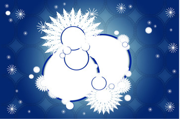 christmas bouble round shapes blue texture with snowflakes