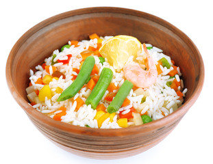 Boiled rice with shrimps and vegetables isolated on white