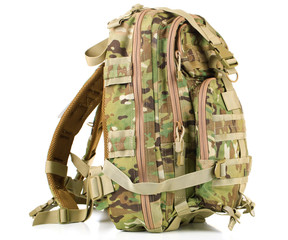 Army backpack, isolated on white