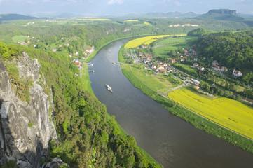 Panoramic view to Saxon Switzerland, Rathen, Germany.